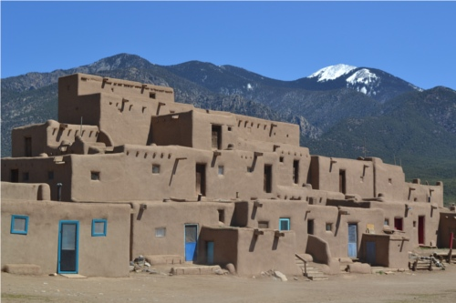 Pueblo and mountain