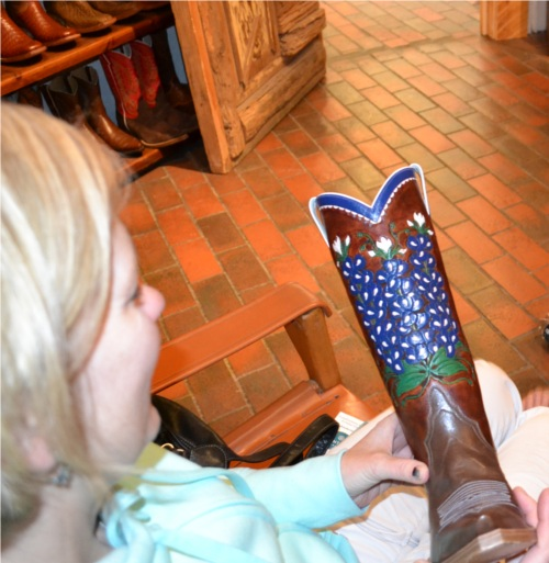 Hand Tooled Custom Cowboy Boots Blue Bonnets