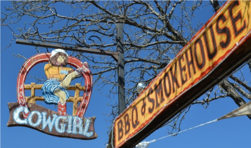 Cowgirl BBQ sign