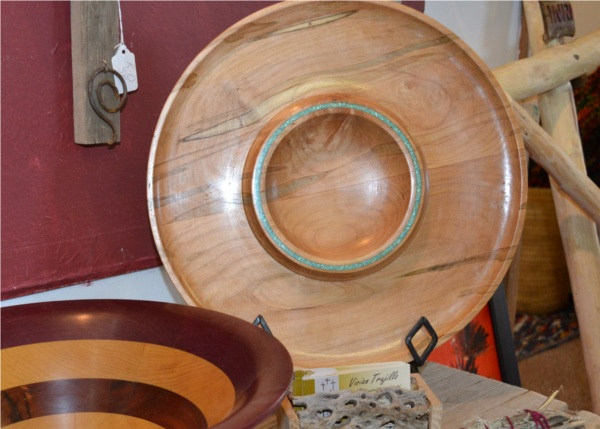 Wooden Bowl Turquoise Inlay