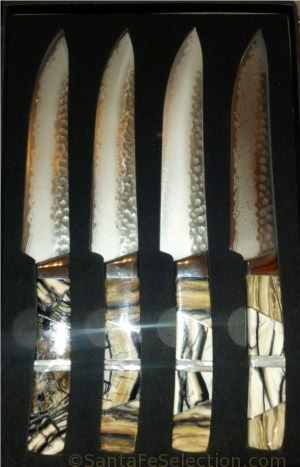Woolly Mammoth Tusk Steak Knives. Cutlery of Santa Fe and Santa Fe Stoneworks.