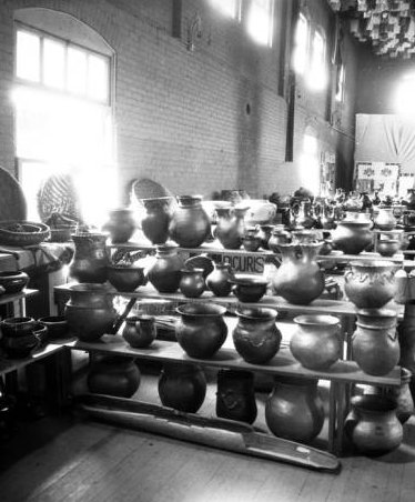 1922 Picuris Pueblo Pottery exhibit at the first Indian Market in Santa Fe. Image courtesy of Palace of the Governors photo archive.