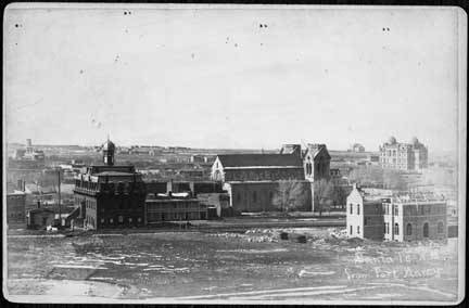 View of Santa Fe from Fort Marcy. St. Francis Cathedral in center. circa 1887. Image: Palace of Governors Photo Archives