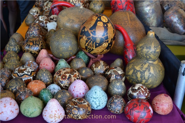 Peruvian hand-carved and painted gourds.