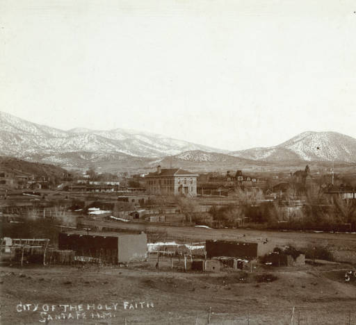 City of Holy Faith, Santa Fe looking Southeast. Christian G Kaadt. circa 1895. Palace of Governors Photo Archives.