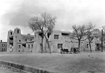 Wood vendor outside the N.M Museum of Fine Arts, c 1920. P.O.G photo archives, NM History Mus.