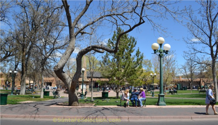 2014 Early spring on Santa Fe Plaza, facing north to the Palace of the Governors.