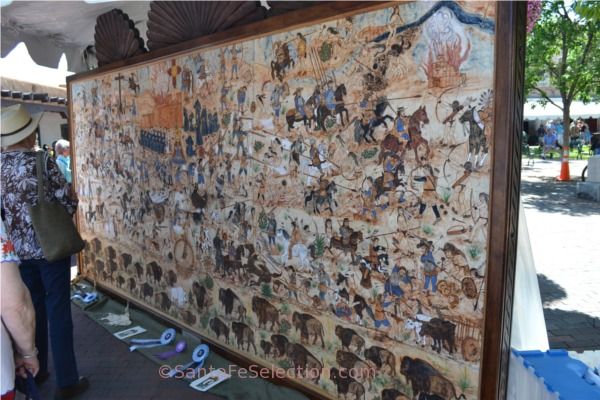 Grand Prize Winner at 2013's Spanish Market. Mural of 1680 Pueblo Revolt by Jose Ramon Lopez.