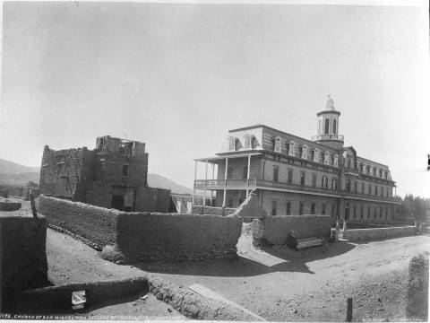 San_Miguel_Church_and_Saint_Michaels_College_Santa_Fe_New_Mexico.1881.whjacksonco