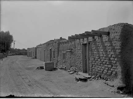 Adobe buildings on Canyon Rd by Jesse Nusbaum-1912- Palace of the Governors Photo Archives