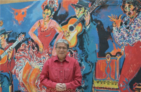 David Salazar, owner of El Farol. Flamenco Mural by ??