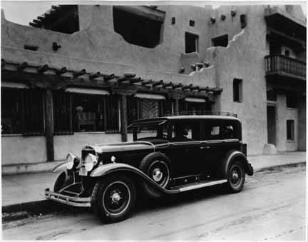 1929 Cadillac Harvey Indian Detour Car outside La Fonda, Santa Fe. Image: Palace of the Governors photo archives