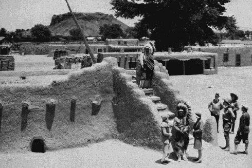 San Ildefonso Pueblo. Image: Harvey Indian Detour Brochure.