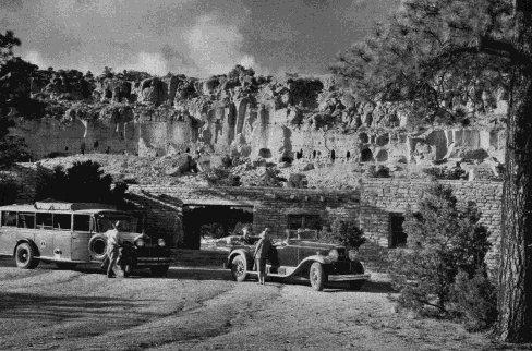 Detourists at Puye Cliffs. Image: Harvey Indian Detours Brochure