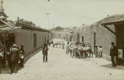 Burro Alley Scene, Santa Fe, N.M 1889. Photo: Palace of the Governors Photo Archives