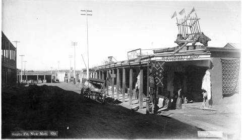Golds_Old_Curiosity_Shop_San_Francisco_Street_at_Burro_Alley_Santa_Fe_New_Mexico W.E.Hook. Mid-late 1800s. Photo: Palace of the Governors Photo Archives