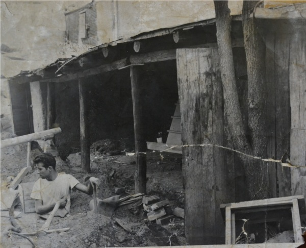 Manuel Carillo-Connie's brother working on the renovation from shelter to The Shed - 1952.