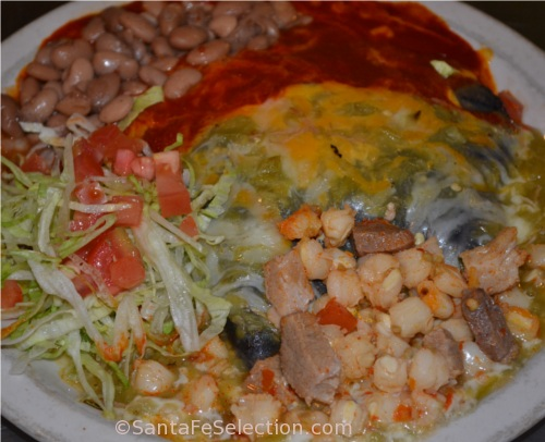 Blue Corn Enchiladas and Posole with Christmas (red and green chile)