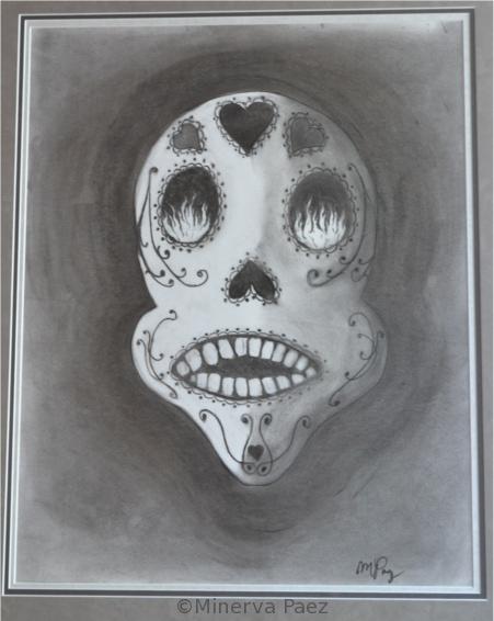 Dia de los Muertos Calavera painting by Minerva Paez.