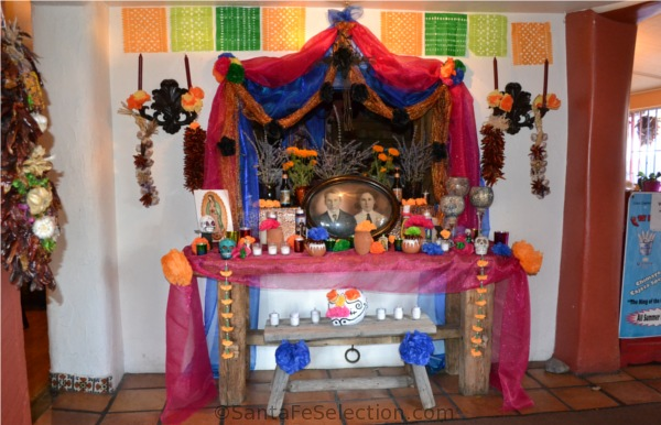 Traditional Ofrenda in honor of Timoteo and Sophia Cordova at Casa Chimayo Restaurant, Santa Fe.