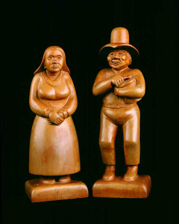 "Allan Houser's first Pine carvings of Apache Dancers height 9.5"". Circa 1941. Image: Houser family archive."