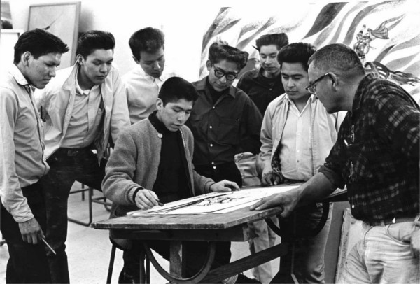 Allan [at right] teaching art students at I.A.I.A. circa 1963.