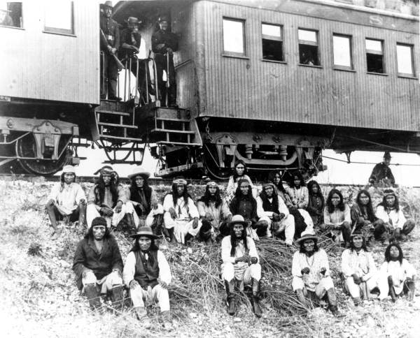Geronimo and Warm Springs tribe members on the way to Florida by train. 1886. Image: Floridamemory.com