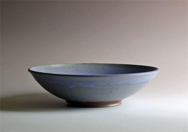 "Bowl with blue glaze 5"" x 14"". Green River Pottery"