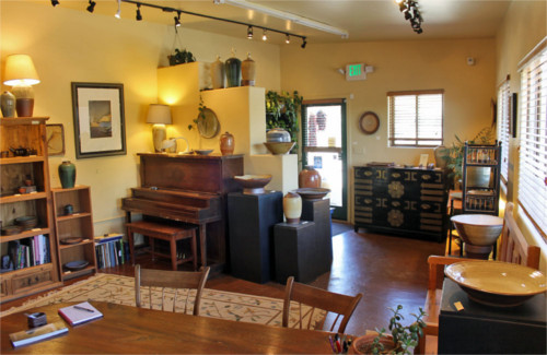 Inside Green River Pottery Gallery.