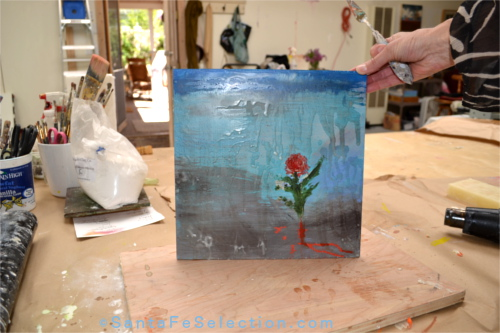 Word Flower encaustic.