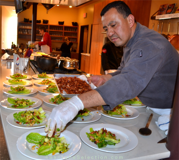 Chef Noe Cano prepping the Perfect Protein Salads.