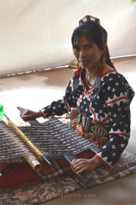 Philippines. Backstrap loom weaving textiles.