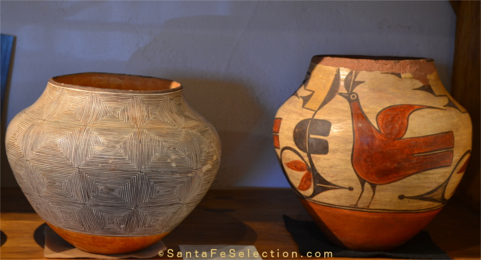 Two pots at Lyn A. Fox Gallery: left is an Acoma fine line jar by Lucy Lewis, c. 1950; right is a Zia 4-color water jar with rim wear from pueblo home use, attributed to Harviana Toribio, c. 1920