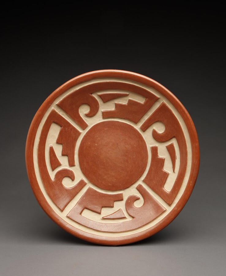 Rare large plate/shallow bowl by Margaret Tafoya of Santa Clara Pueblo.  Circa 1935.