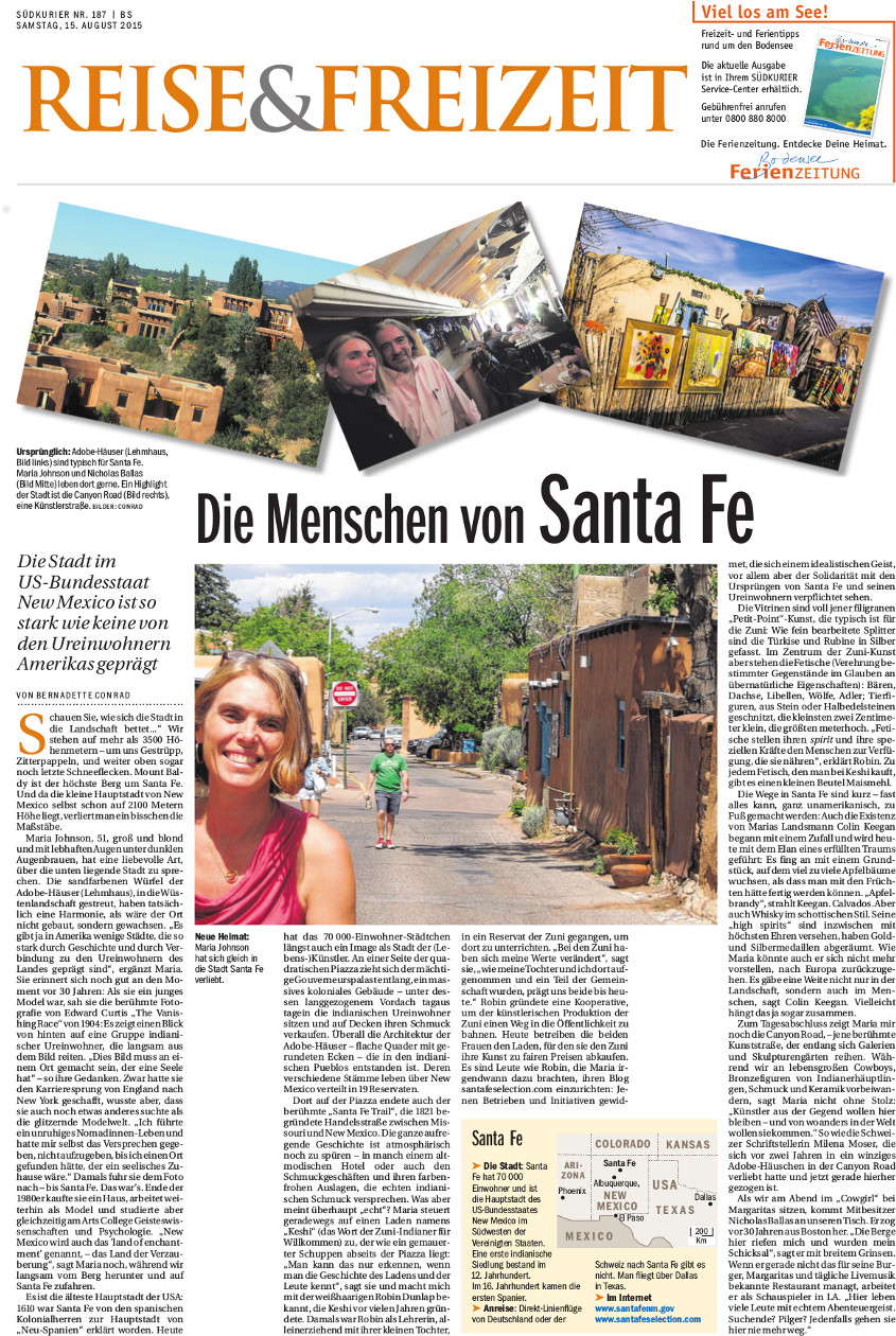 A small shot of the Sudkurier Travel & Leisure page, including images.