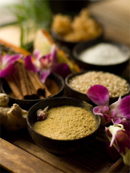 A few organic and exotic ingredients used for treatments at Absolute Nirvana.
