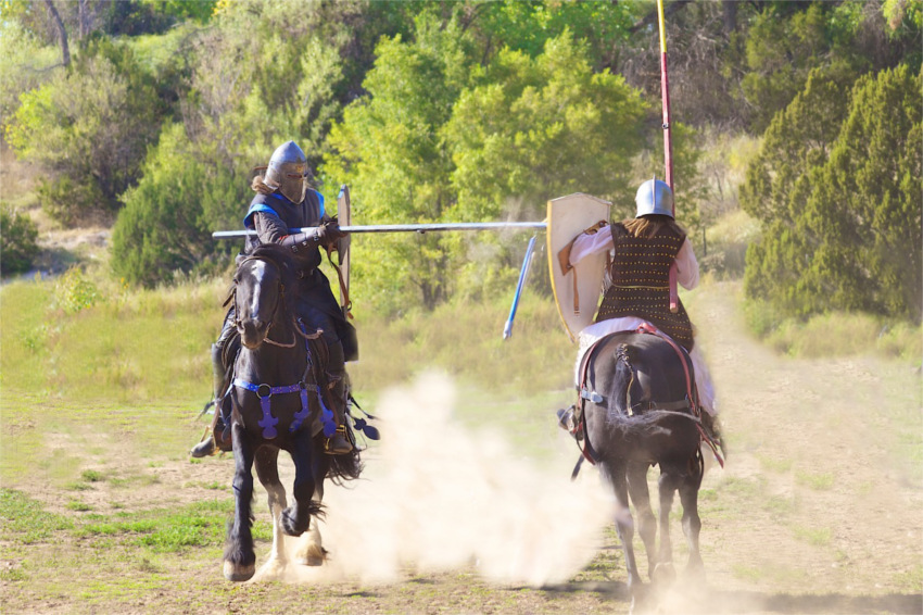 Don't try this at home! Jousting is performed by professionals during the Renaissance Fair.