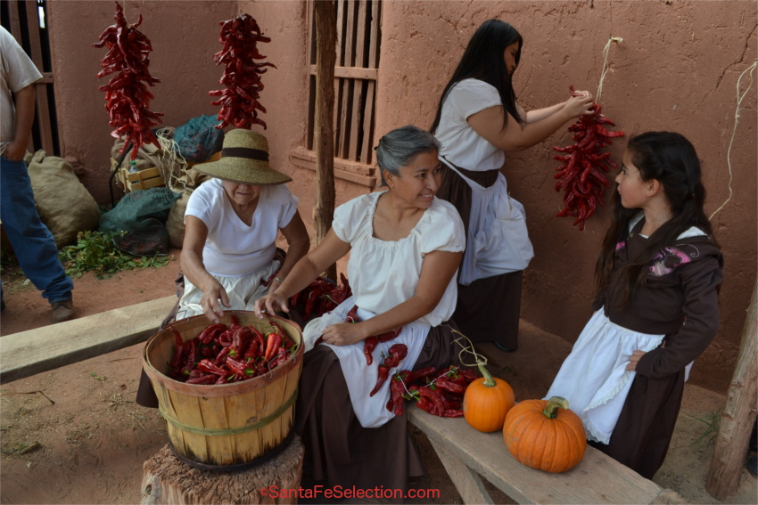 Ristra making from their own crop of chiles