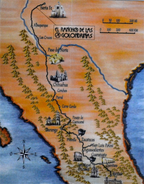 El Camino Real Map showing Las Golondrinas and the original capitol of New Spain - San Juan Pueblo (Ohkay Owingeh).