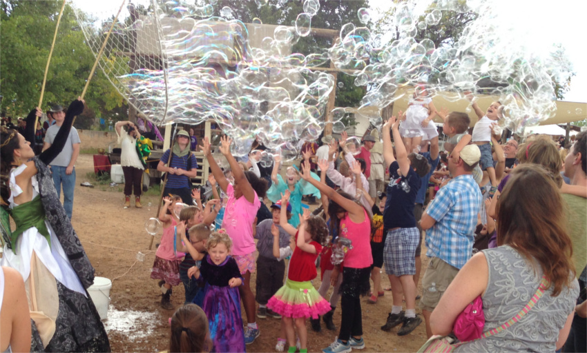 Giant bubbles at the Renaissance Fair.