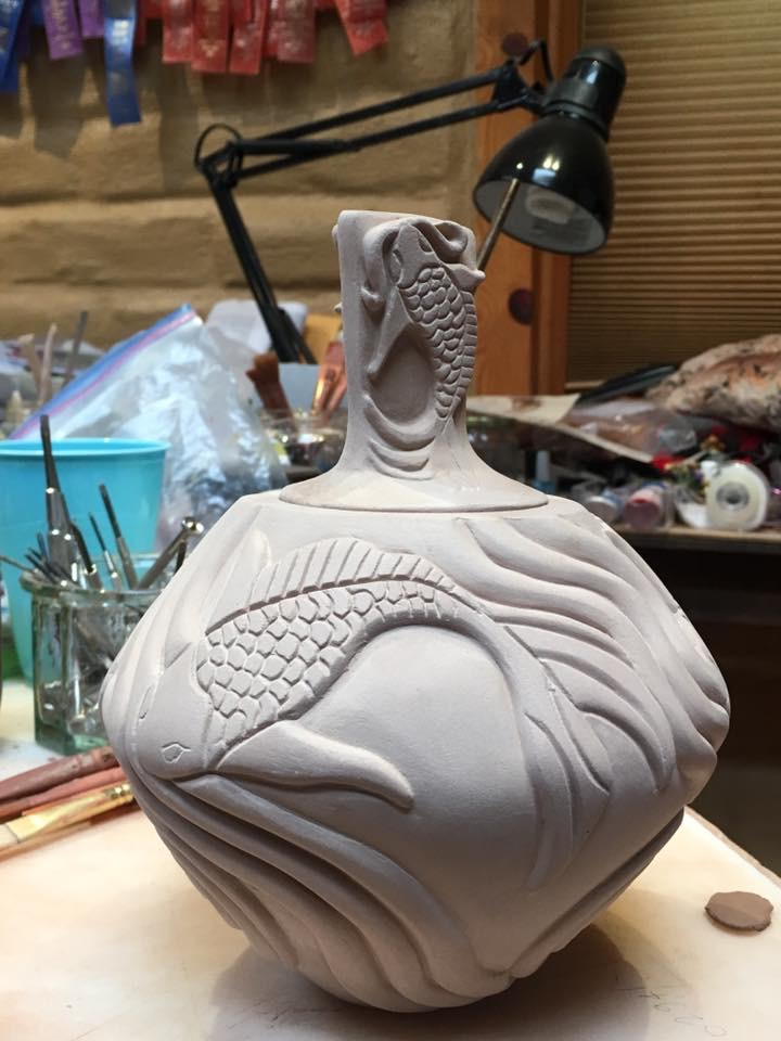 Chris Youngblood Fish pot with lid.