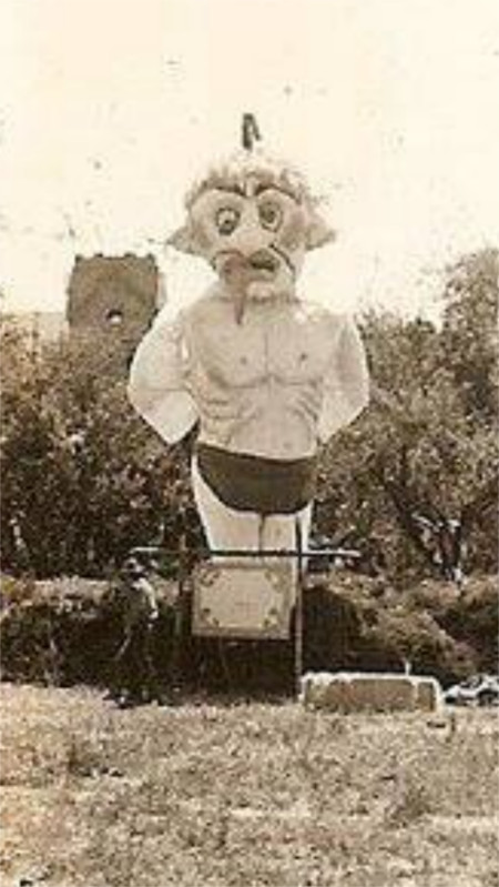 1928 - Zozobra in front of St. Francis Cathedral. Image courtesy of Kiwanis Club of Santa Fe.