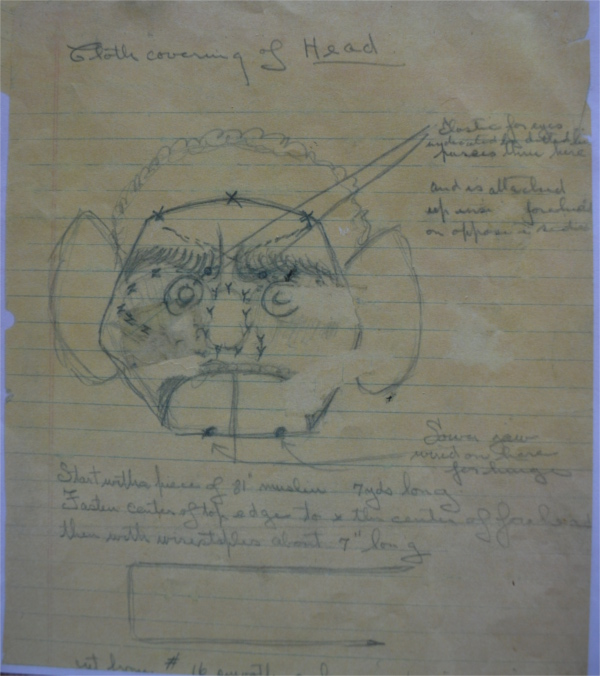 Sketch of Zozobra's Head and instructions by Will Shuster, from Shuster's Journal, courtesy of Ray Sandoval.