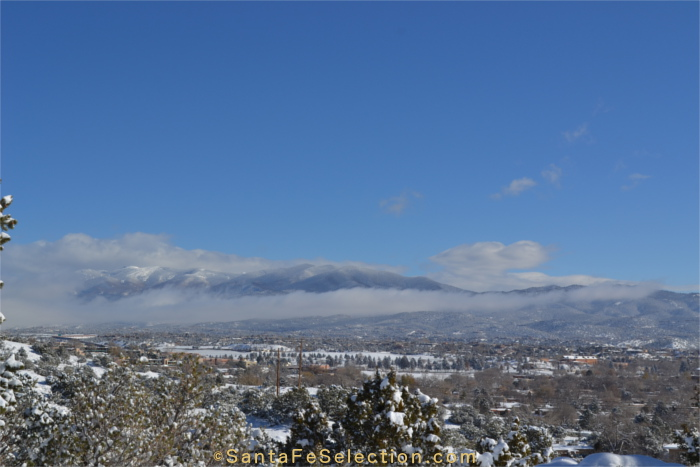After a snow storm - overlooking Santa Fe's downtown toward Sangre de Cristos