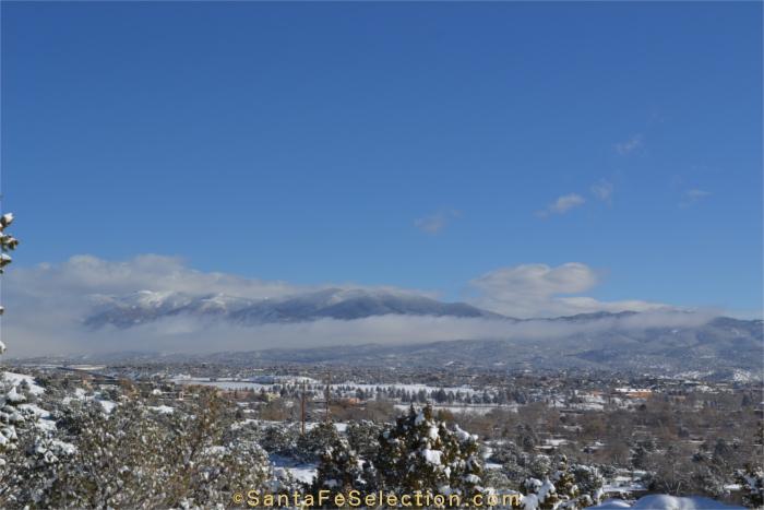 After a snow storm - overlooking Santa Fe's downtown toward Sangre de Cristos