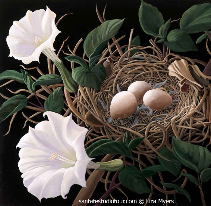 Towhee Nest with Jimson Weed. Acrylic on Canvas by Liz Myers